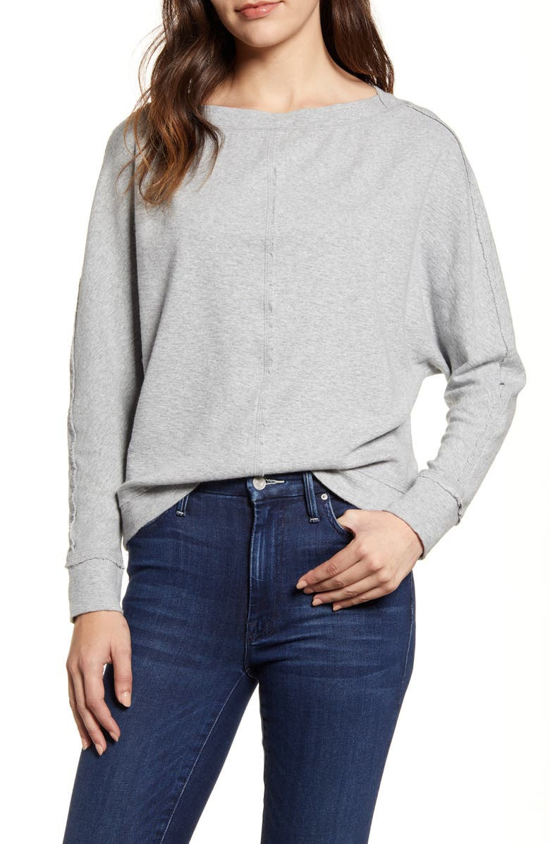 CASLON<SUP>®</SUP> Bateau Neck Exposed Seam Cotton Blend Top, Main, color, GREY HEATHER