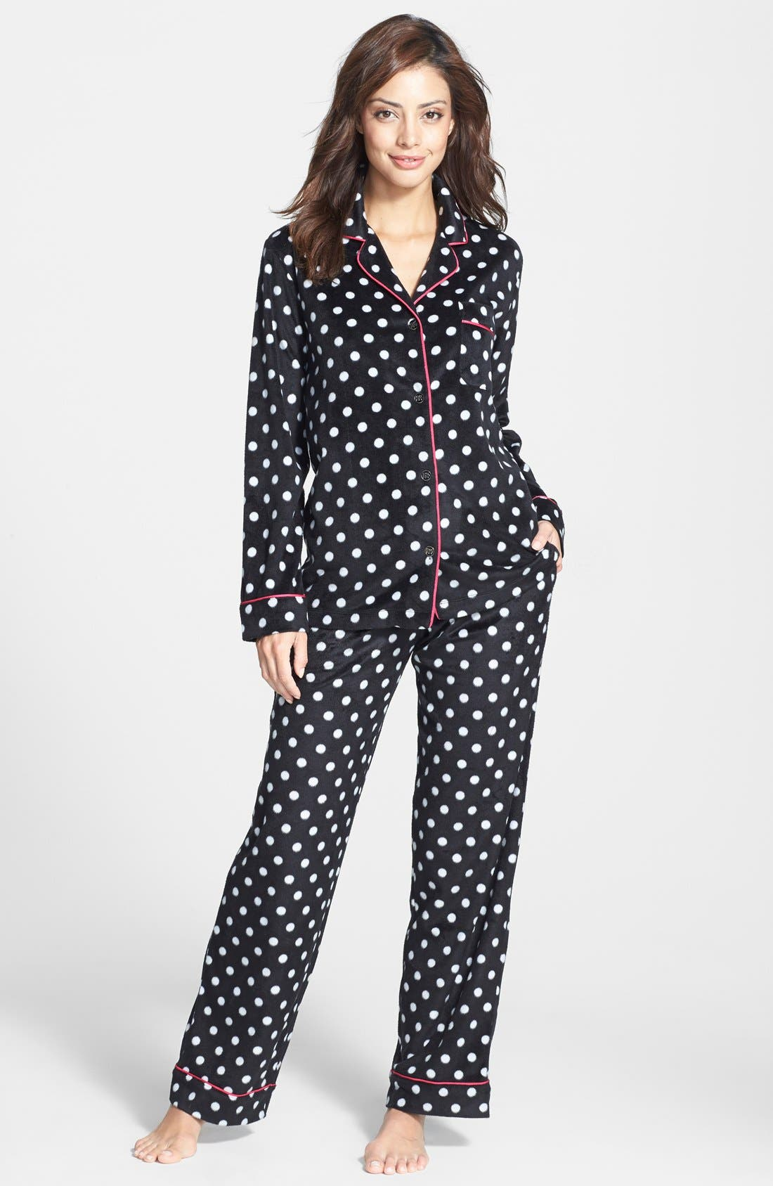 ,                             Long Sleeve Microfleece Pajamas,                             Alternate thumbnail 4, color,                             001