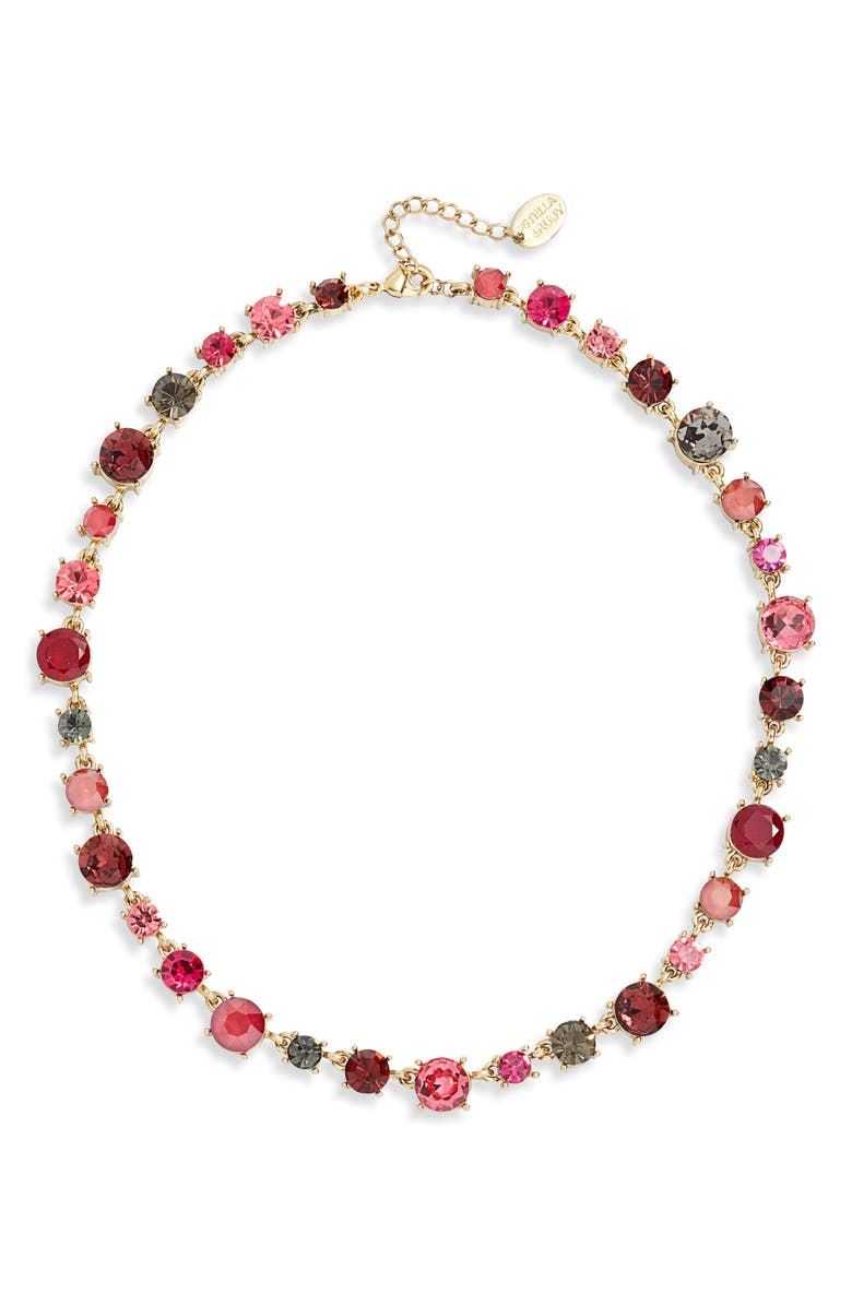 STELLA + RUBY Crystal Collar Necklace, Main, color, WORN GOLD-BERRY