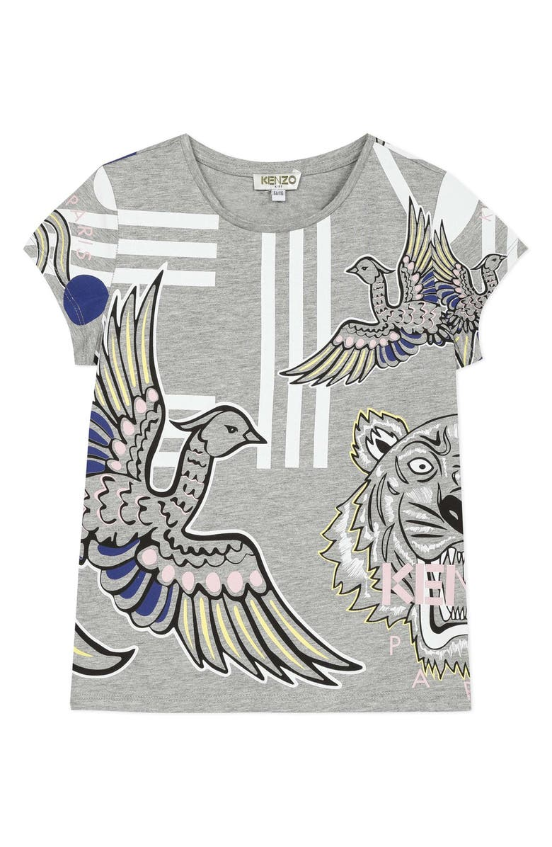 KENZO Multi Iconic Graphic Tee, Main, color, MARL GREY