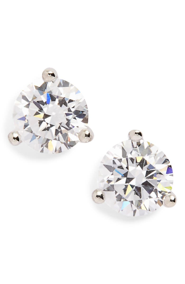 NORDSTROM 1ct tw Cubic Zirconia Earrings, Main, color, PLATINUM