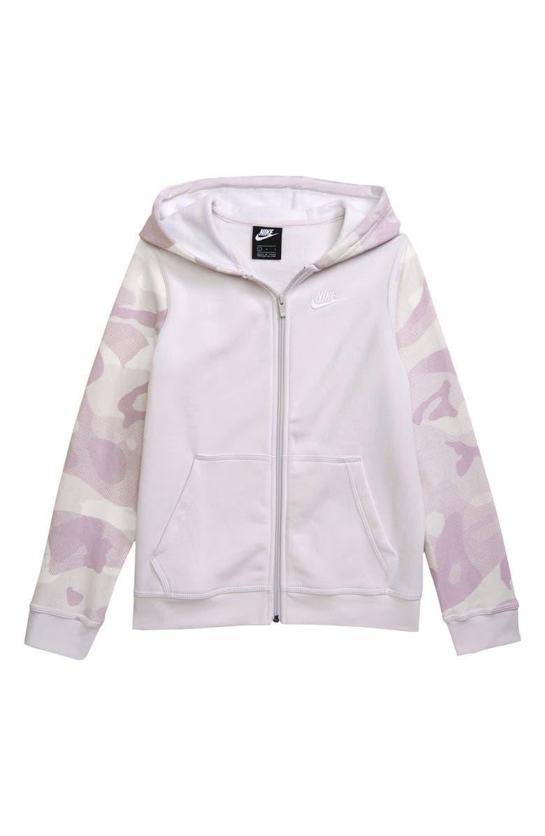 NIKE Club Full Zip Fleece Hoodie, Main, color, VAST GREY/ WHITE