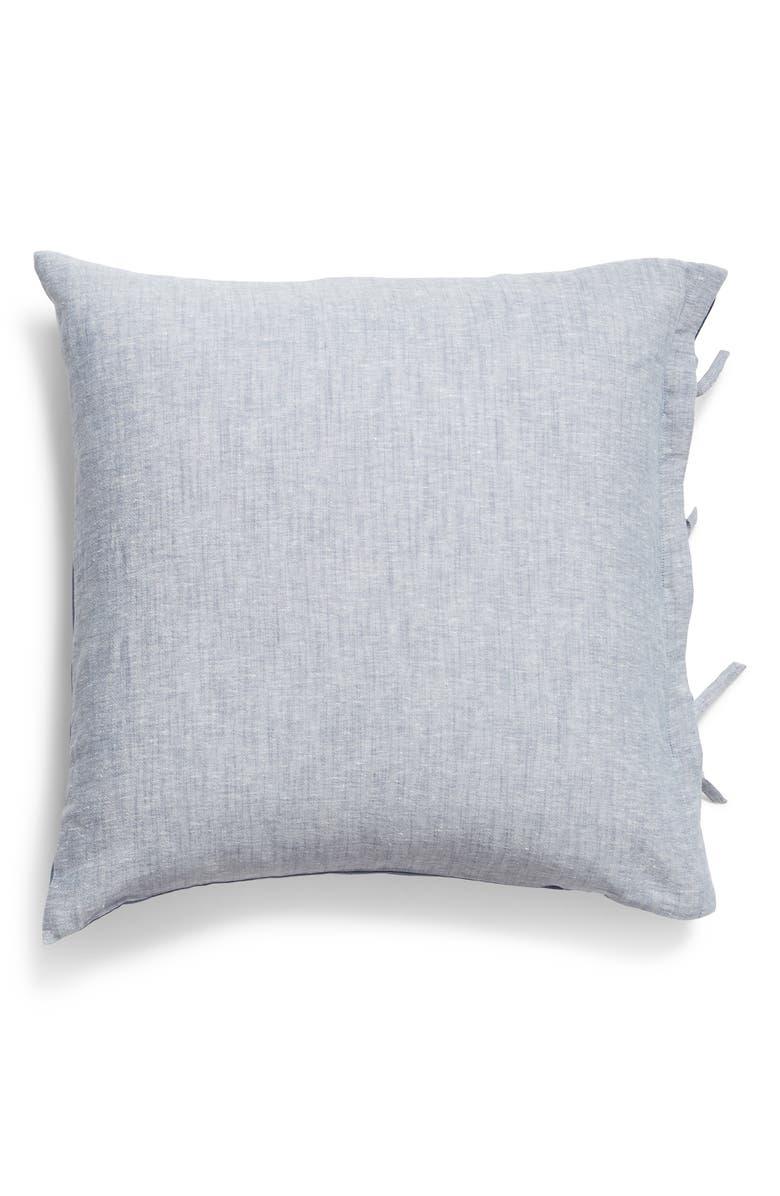 TREASURE & BOND Relaxed Cotton & Linen Euro Sham, Main, color, BLUE VINTAGE