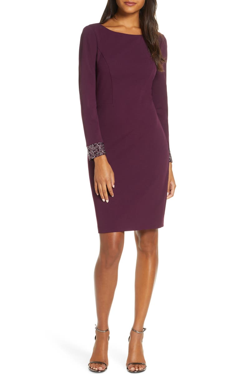 VINCE CAMUTO Embellished Long Sleeve Cocktail Dress, Main, color, PLUM