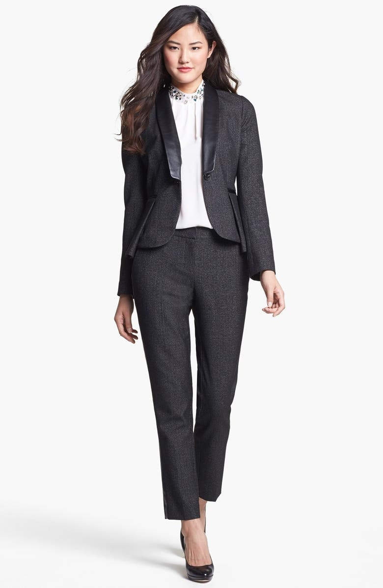 VINCE CAMUTO Faux Leather Collar Peplum Blazer, Main, color, 001