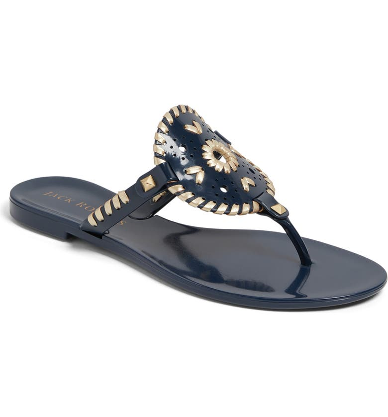 JACK ROGERS 'Georgica' Jelly Flip Flop, Main, color, MIDNIGHT/GOLD