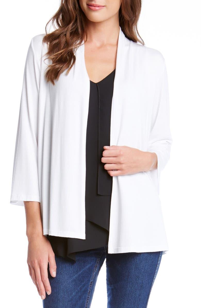 KAREN KANE 'Molly' Open Jersey Cardigan, Main, color, OFF WHITE