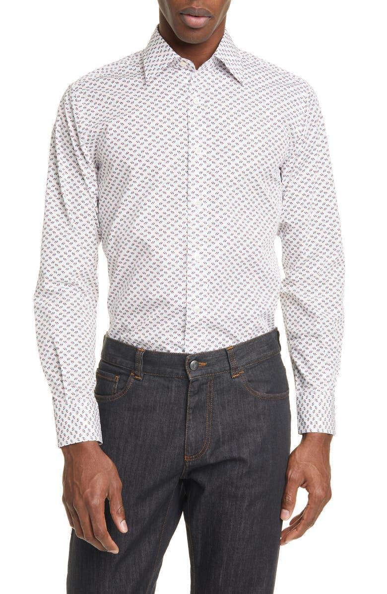 CANALI Slim Fit Cherry Print Dress Shirt, Main, color, WHITE