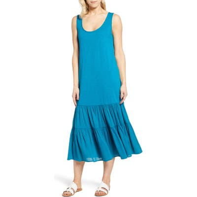 Petite Caslon Mixed Media Drop Waist Maxi Dress, Blue/green