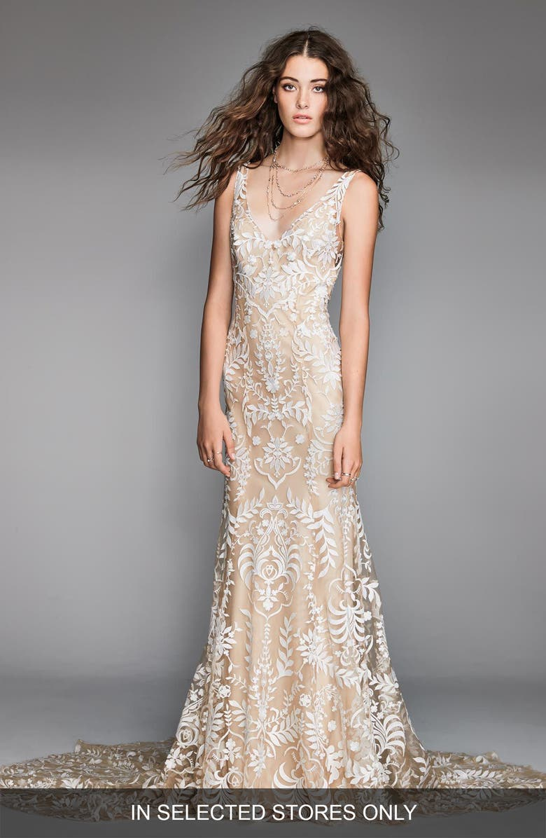 WILLOWBY Corella Embroidered Lace & Charmeuse Mermaid Gown, Main, color, NUDE/NUDE