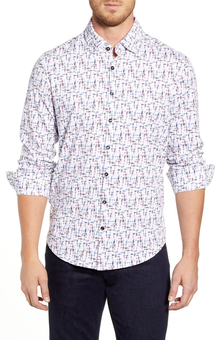 STONE ROSE Regular Fit Button-Up Performance Sport Shirt, Main, color, WHITE