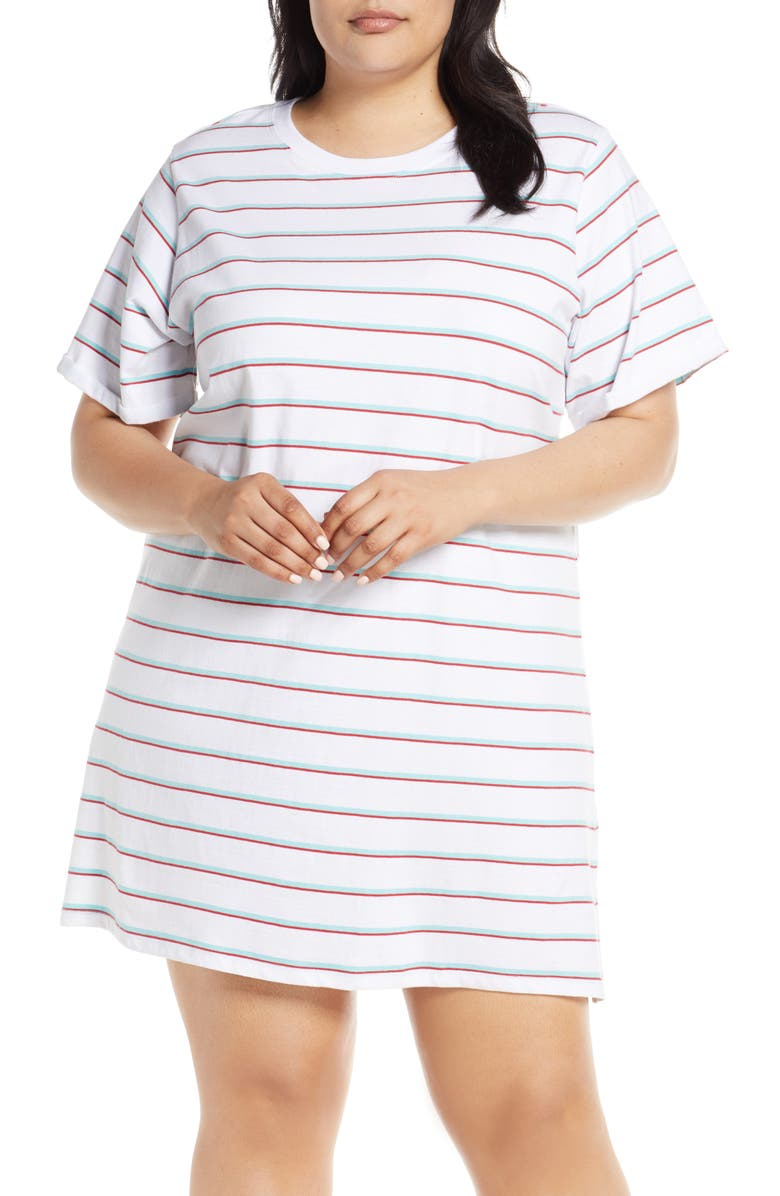 MAKE + MODEL Slumber Party Nightshirt, Main, color, BLUE GULF AMBER STRIPE