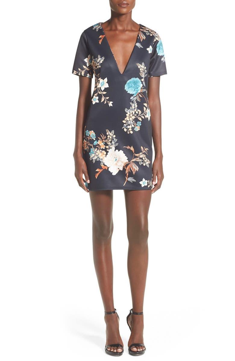MISSGUIDED Floral Print V-Neck Shift Dress, Main, color, 401