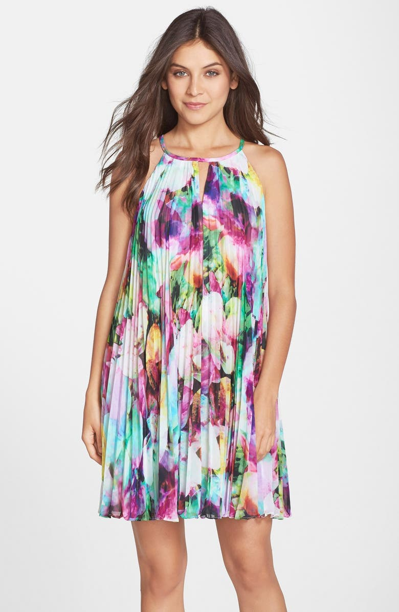 MAGGY LONDON Floral Print Chiffon Pleated A-Line Dress, Main, color, 650