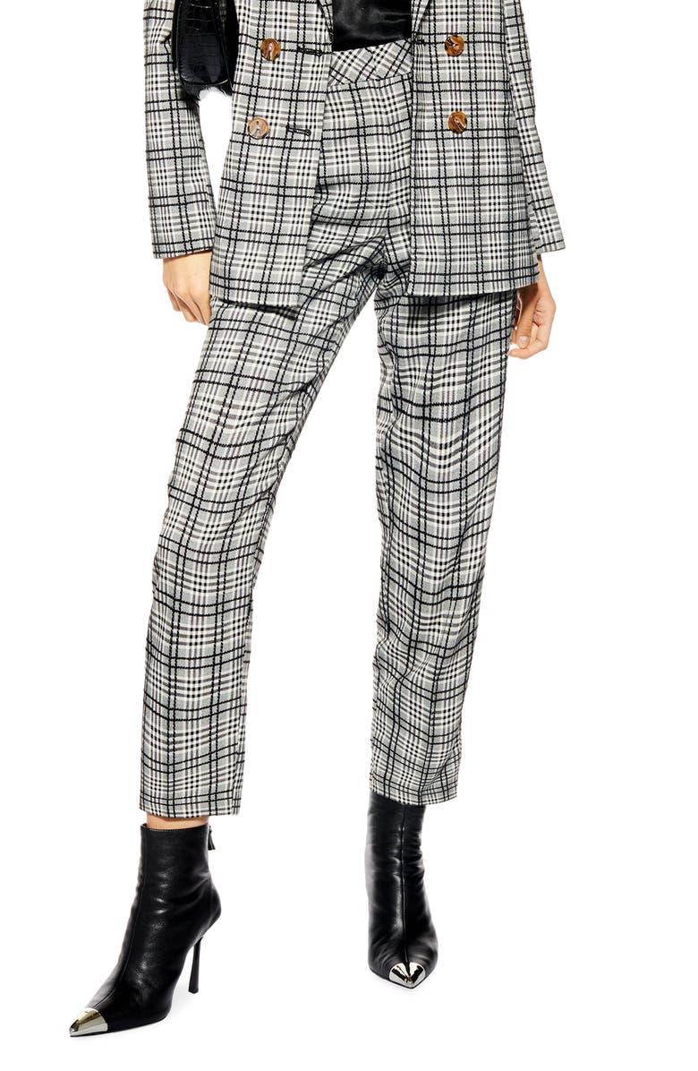 TOPSHOP Molly Check Cigar Pants, Main, color, BLACK MULTI