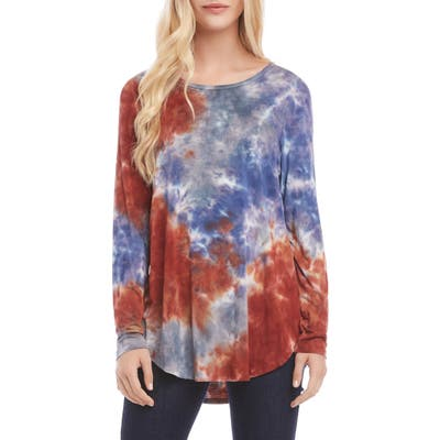 Karen Kane Tie-Dye Shirttail Top, Blue