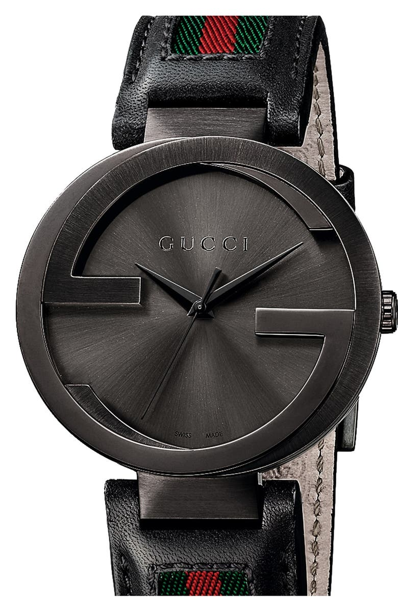 GUCCI 'Interlocking G' Leather Strap Watch, 42mm, Main, color, 001