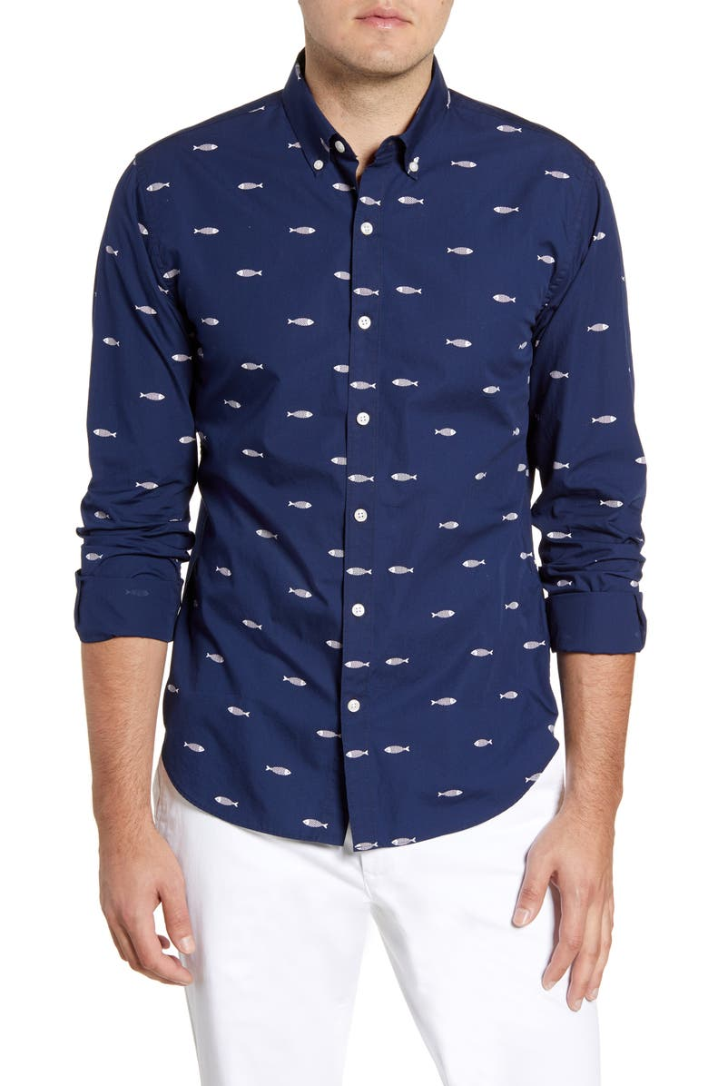 BONOBOS Summerweight Slim Fit Fish Print Button-Down Shirt, Main, color, SARDINES SCATTER STARRY SKY