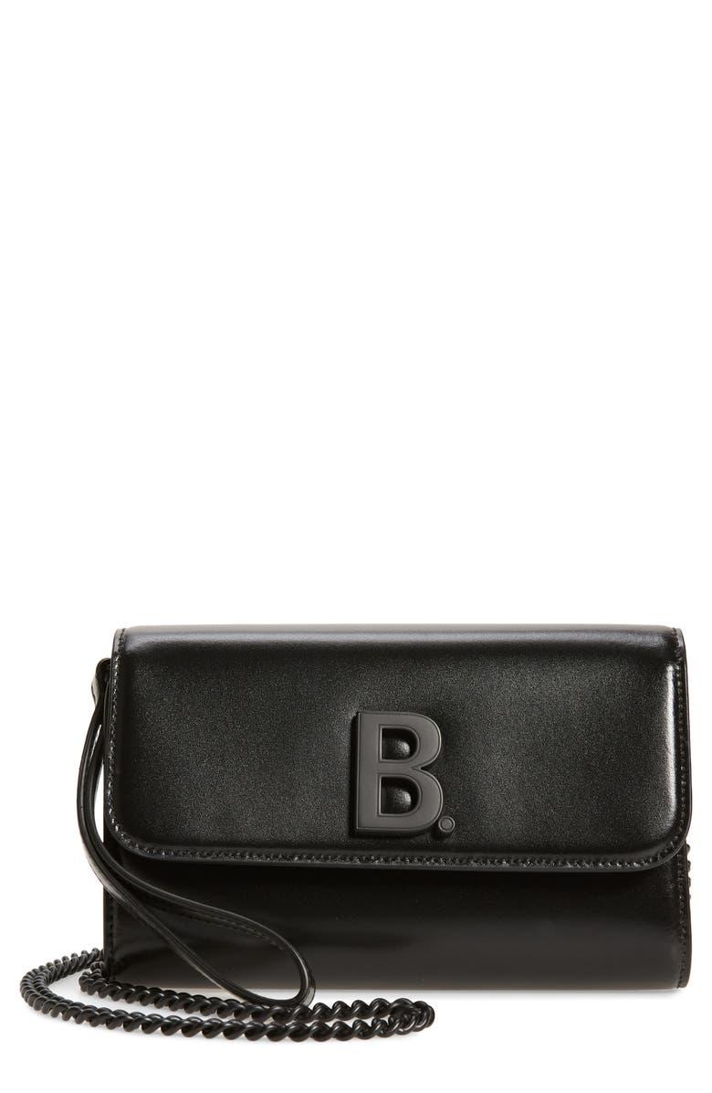 BALENCIAGA Leather Wallet on a Chain, Main, color, BLACK