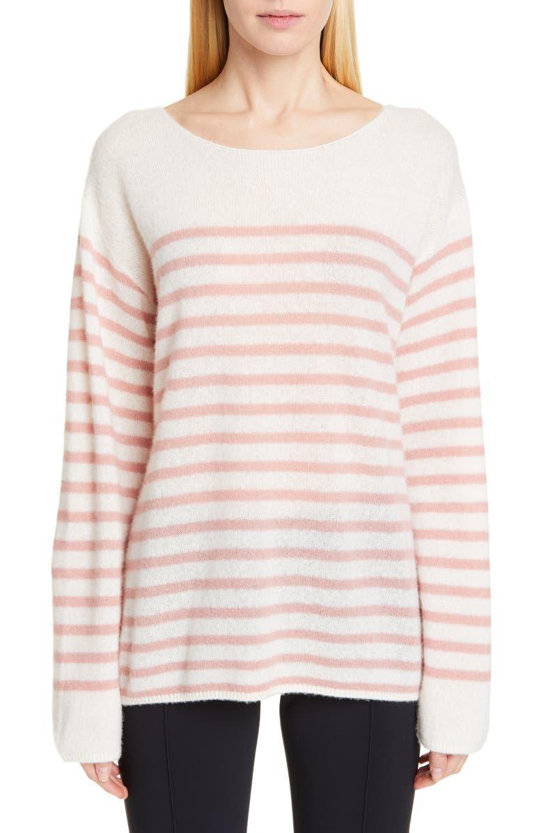 ADAM LIPPES Stripe Cashmere & Silk Bateau Neck Sweater, Main, color, IVORY/ PETAL PINK