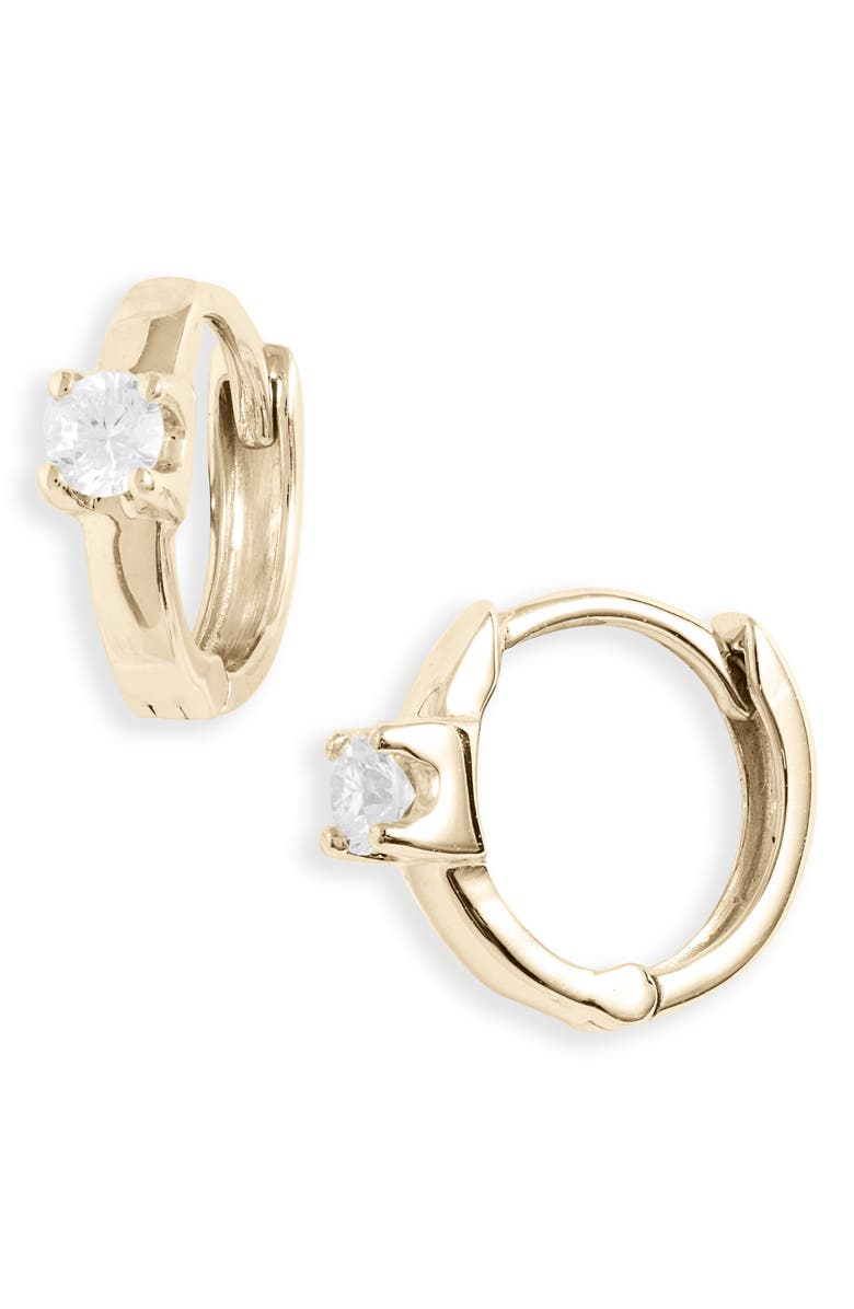BONY LEVY Amara Classic Diamond Huggie Earrings, Main, color, YELLOW GOLD/ DIAMOND