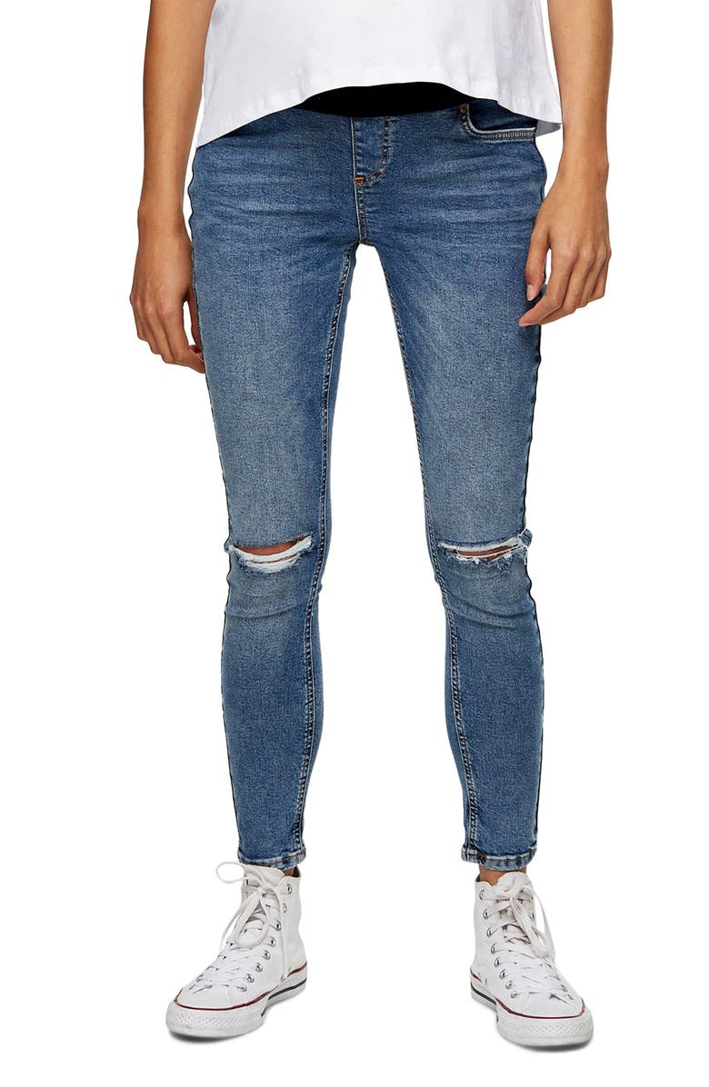 TOPSHOP Jamie Under the Bump Ripped Maternity Skinny Jeans, Main, color, MID DENIM