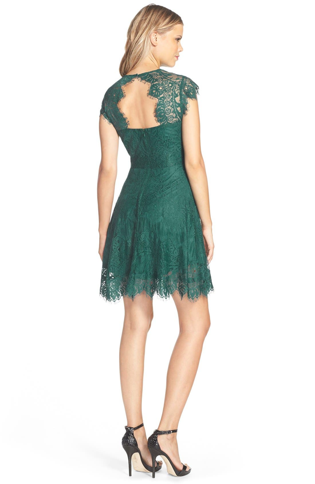 ,                             Rhianna Open Back Lace Fit & Flare Cocktail Dress,                             Alternate thumbnail 33, color,                             322