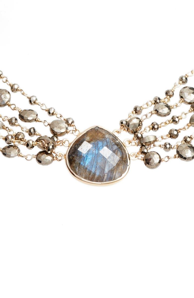 ELA RAE Melania Semiprecious Stone Collar Necklace, Main, color, LABRADORITE