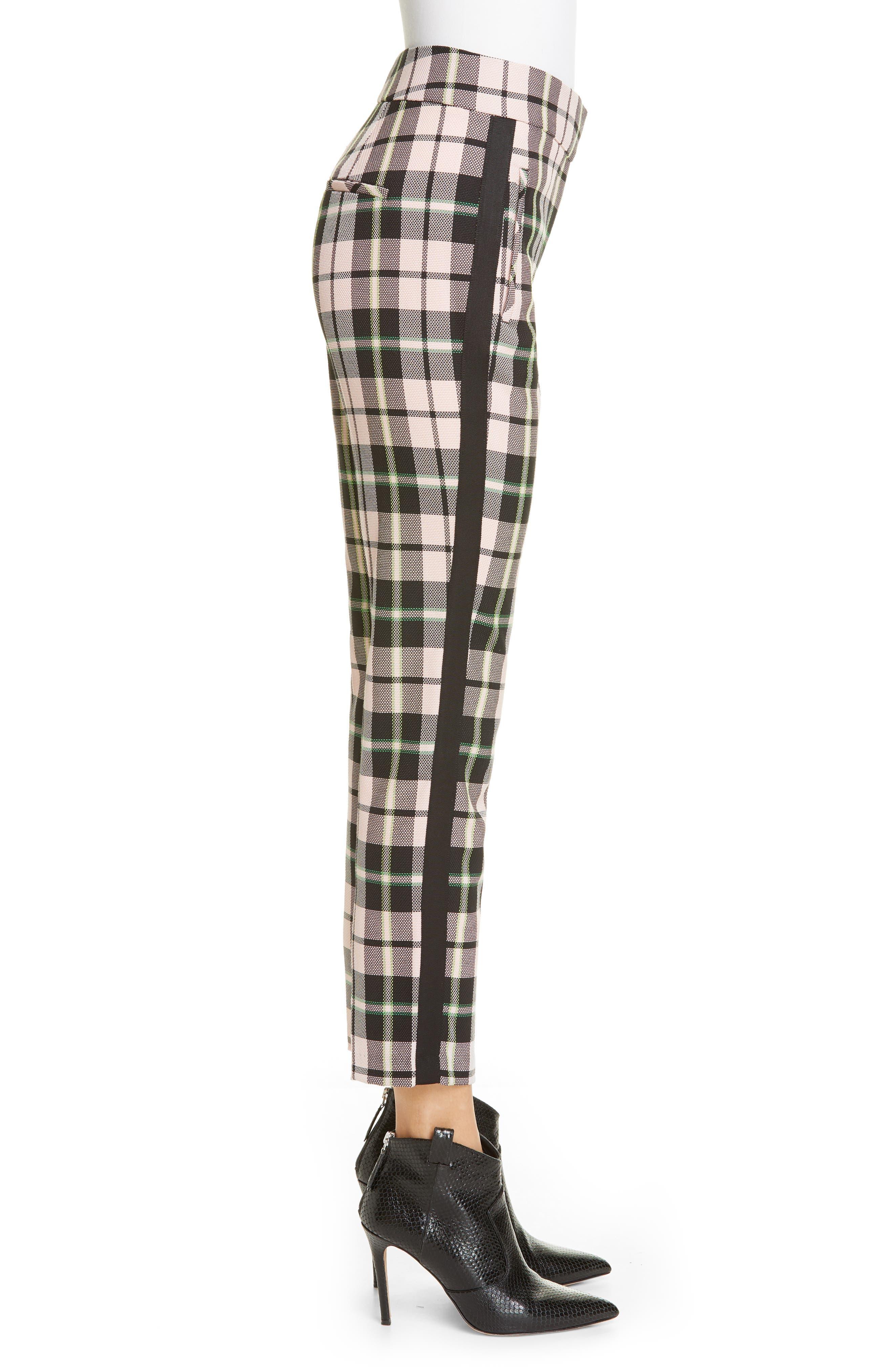 ,                             Gemini Plaid Crop Trousers,                             Alternate thumbnail 3, color,                             PINK MULTI