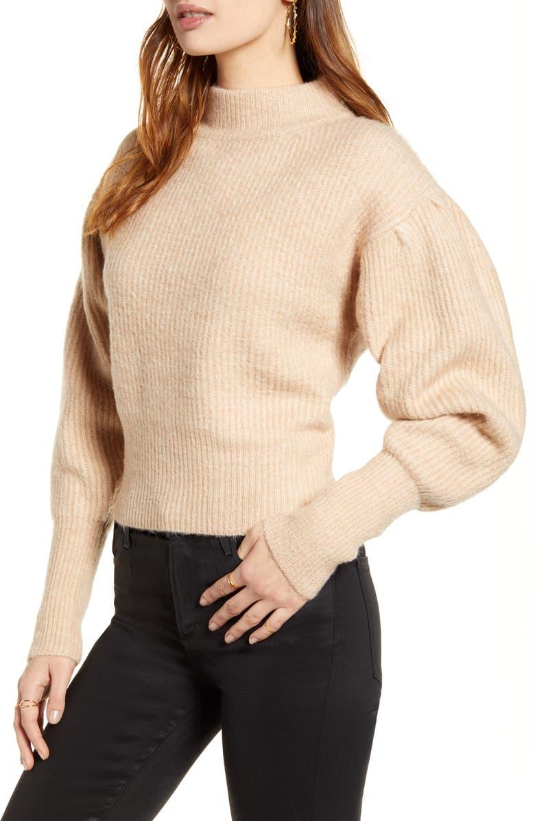 ASTR THE LABEL Regis Mock Neck Sweater, Main, color, OATMEAL