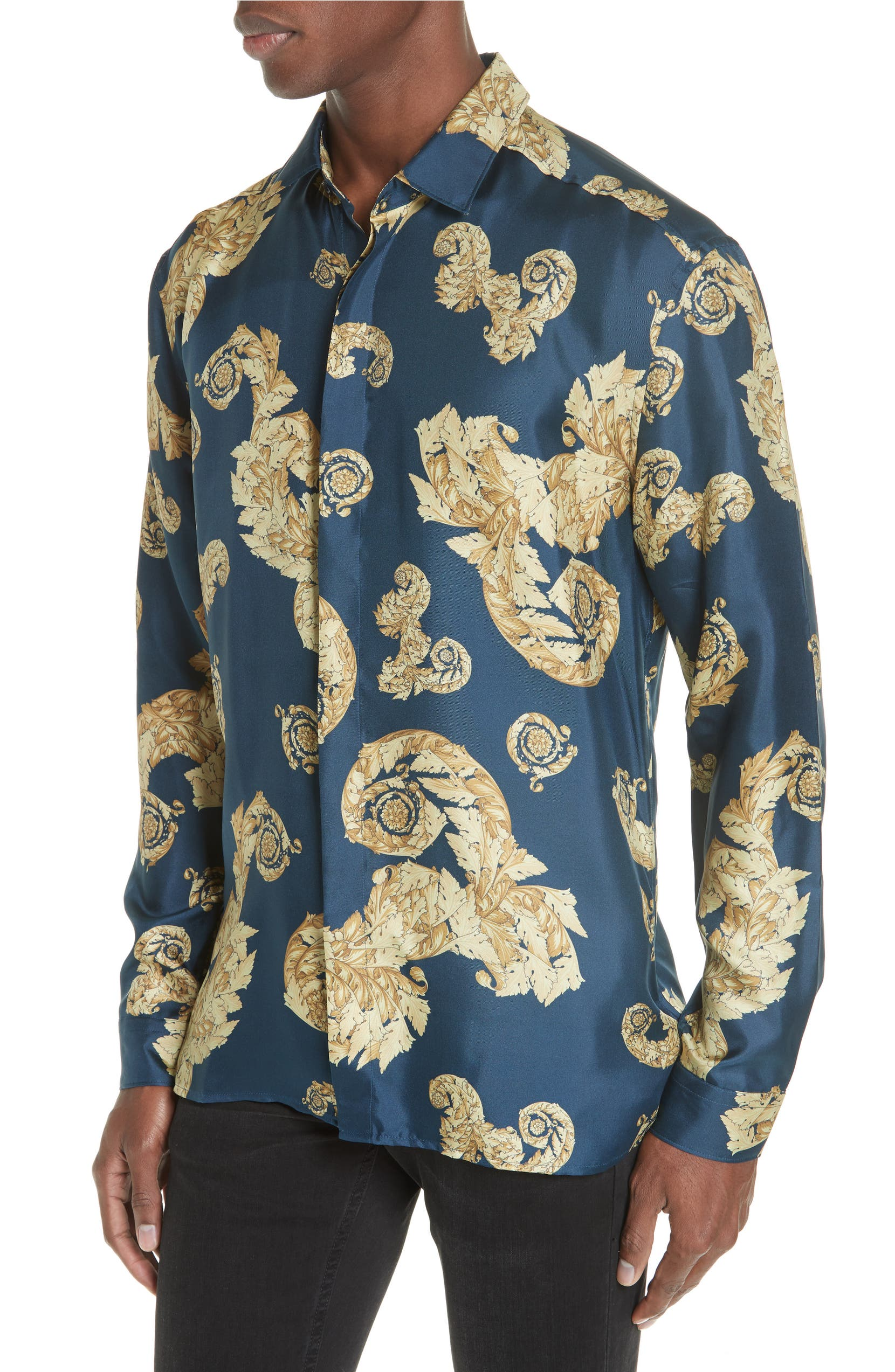 980bbfd6be Versace Collection Allover Baroque Silk Sport Shirt | Nordstrom
