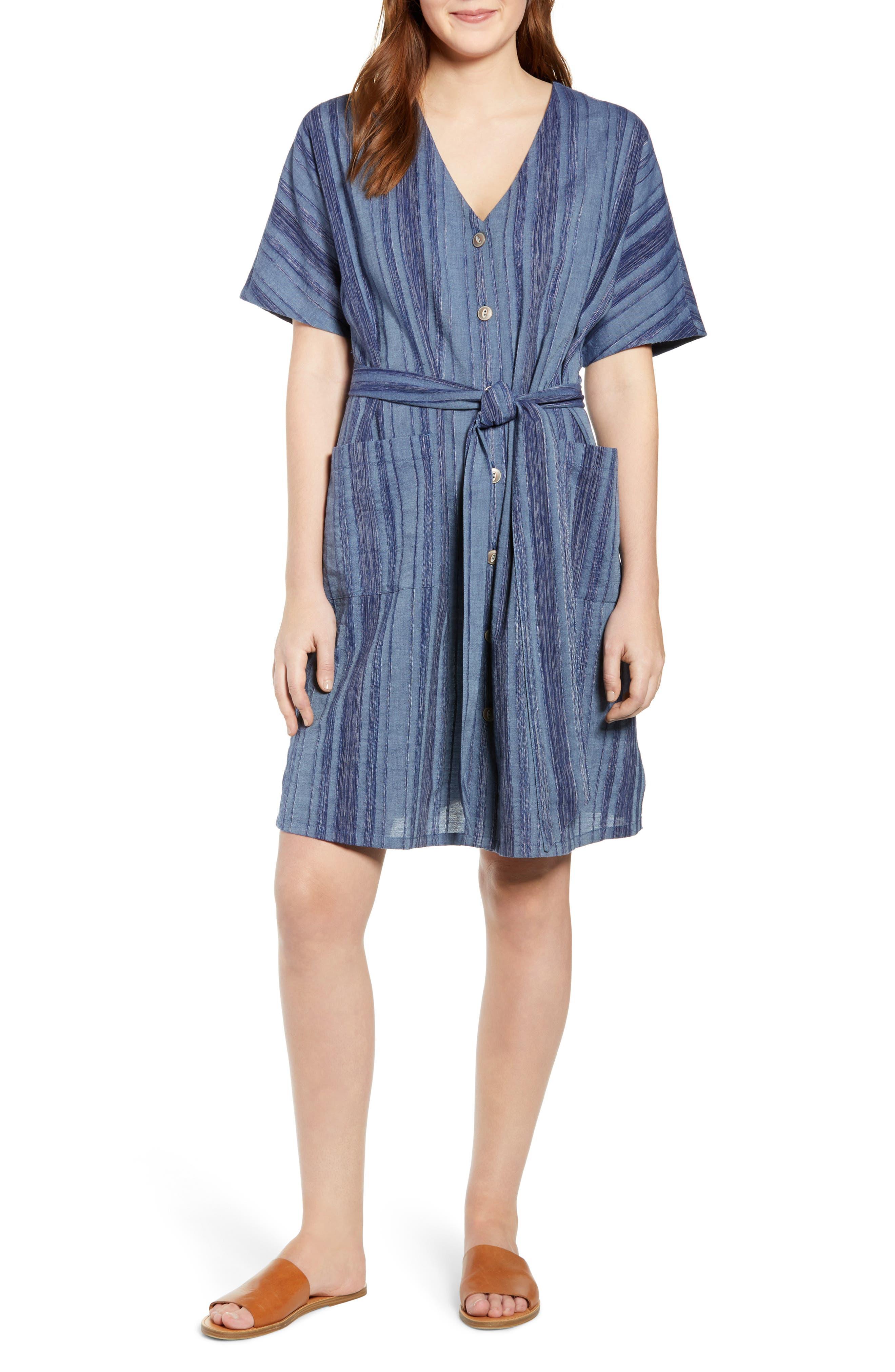 Petite Caslon Button Front Belted Dress, Blue