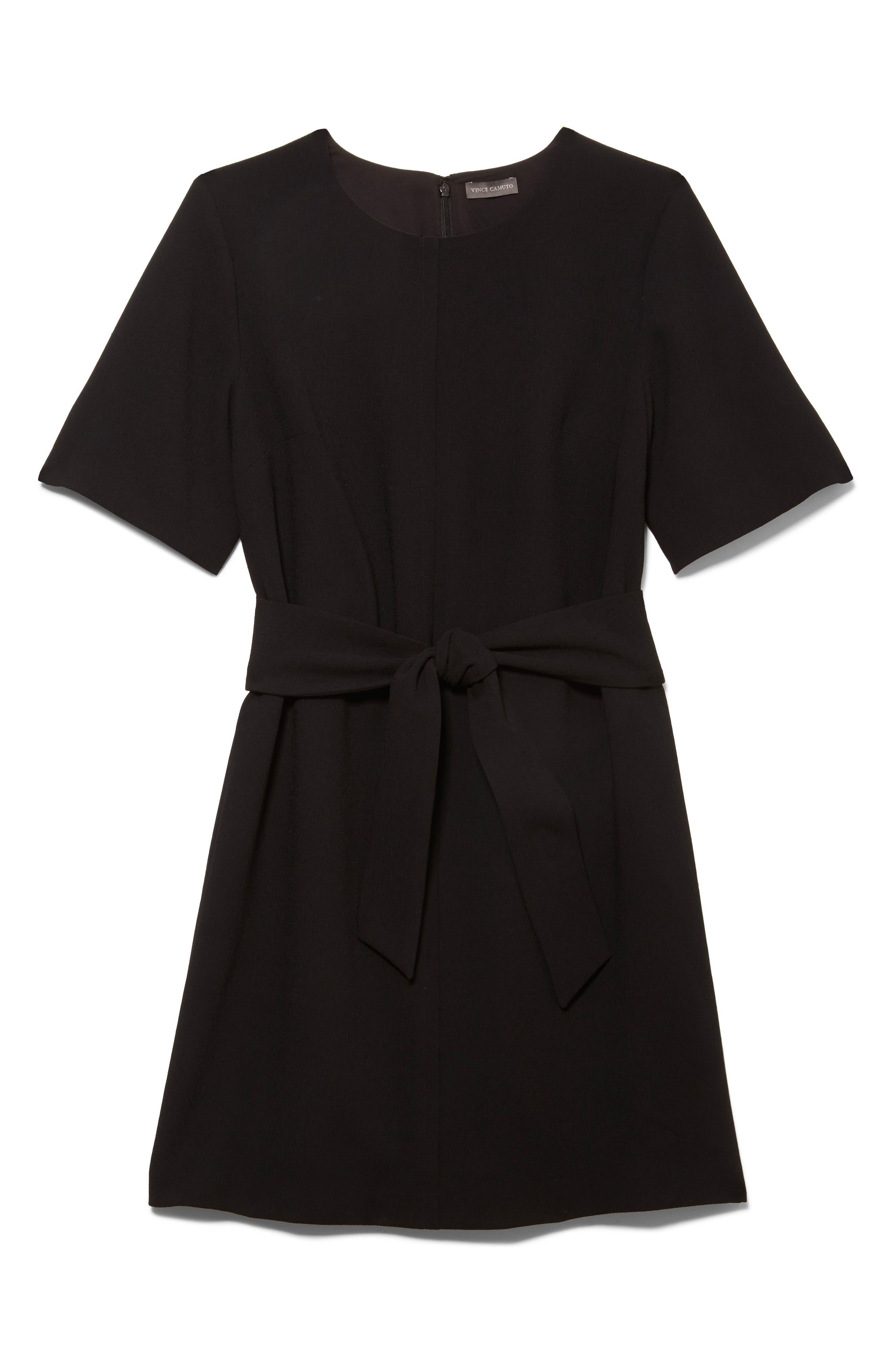 ,                             Belted Crepe Dress,                             Alternate thumbnail 4, color,                             006