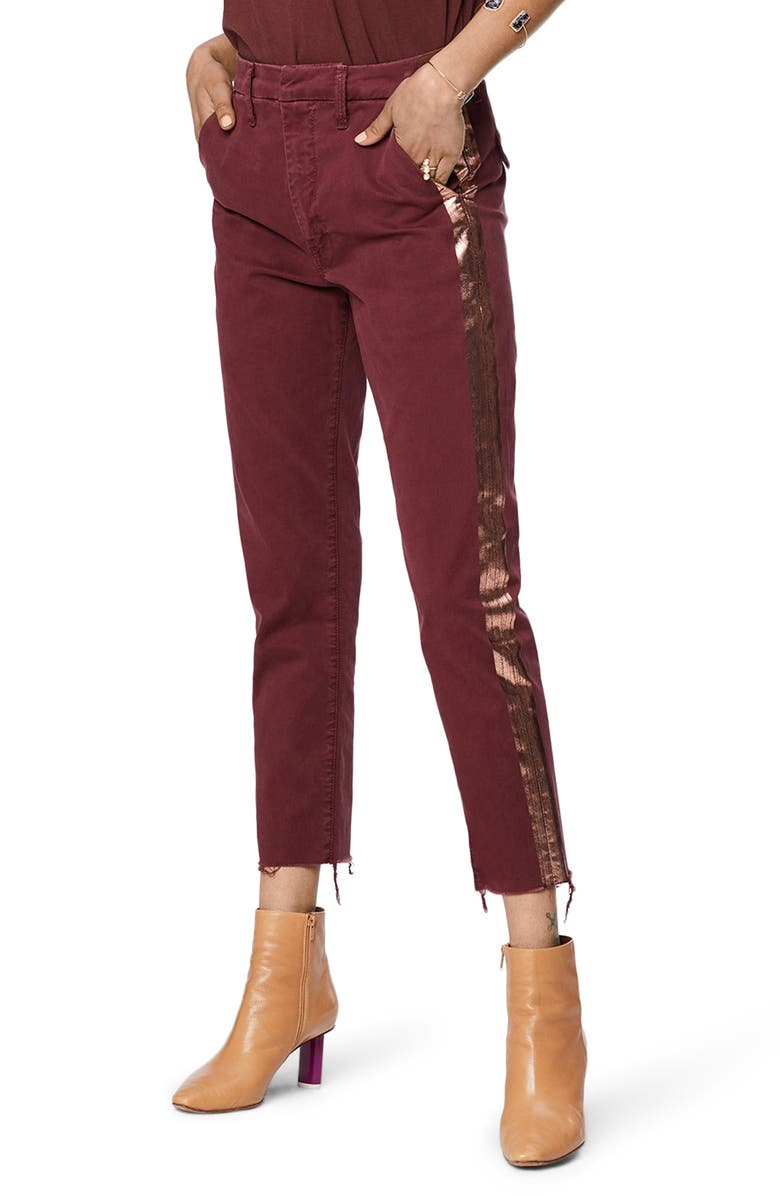 MOTHER The Shaker Prep High Waist Crop Chinos, Main, color, DAHLIA/ ROSEGOLD