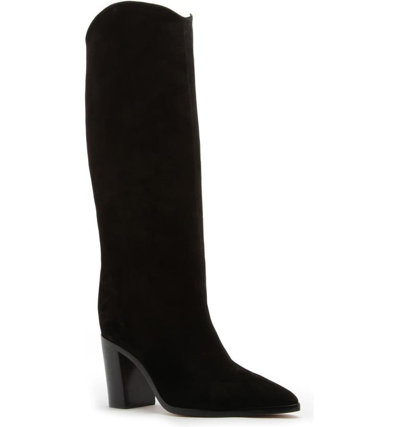 SCHUTZ Analeah Pointed Toe Knee High Boot, Main, color, BLACK LEATHER