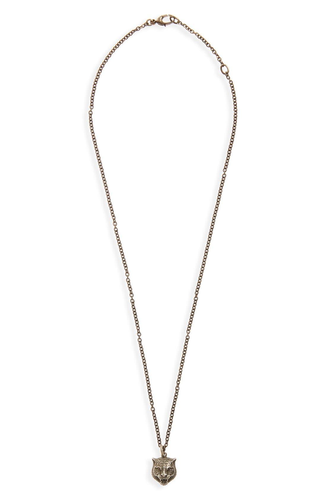 ,                             Feline Head Pendant Necklace,                             Main thumbnail 1, color,                             SILVER