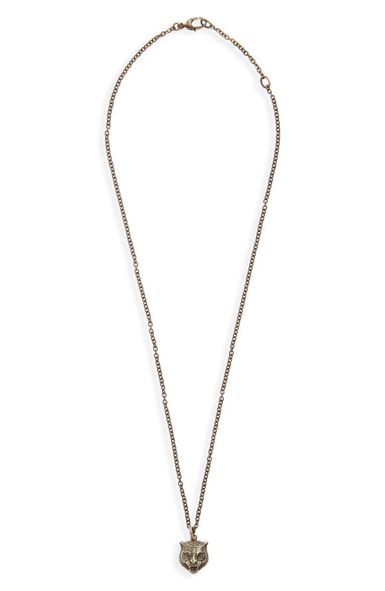 GUCCI Feline Head Pendant Necklace, Main, color, 040