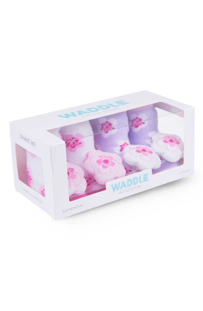 WADDLE 2-Pack Cherry Blossom Rattle Socks, Main, color, WHITE/ LAVENDER