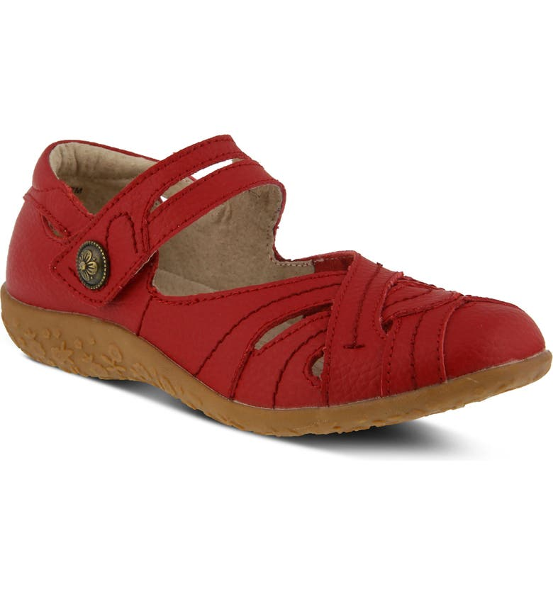 SPRING STEP Hearts Flat, Main, color, RED LEATHER