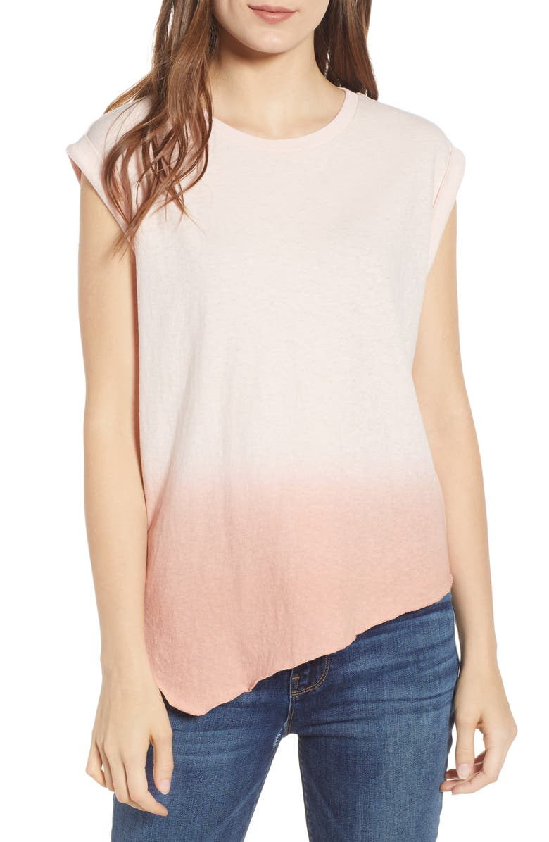 HUDSON JEANS Roll Sleeve Tank, Main, color, PINK OMBRE