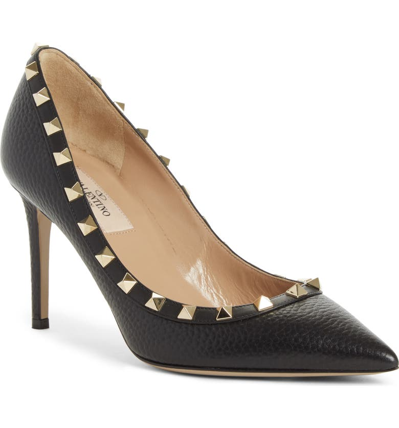 VALENTINO GARAVANI Rockstud Pointed Toe Pump, Main, color, BLACK PEBBELED LEATHER