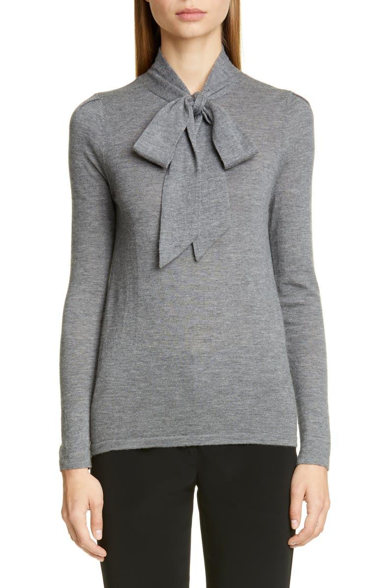 CO Essentials Tie Neck Cashmere Sweater, Main, color, GREY