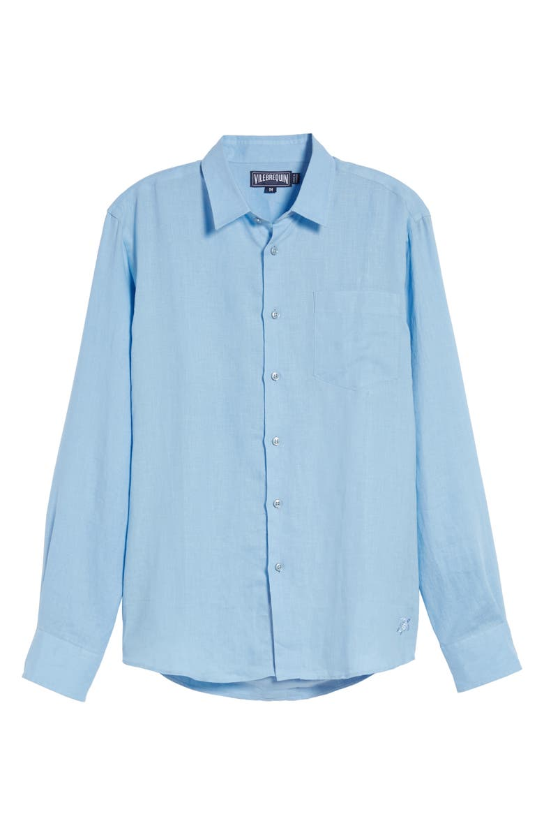 VILEBREQUIN Caroubie Slim Fit Linen Shirt, Main, color, SKY BLUE