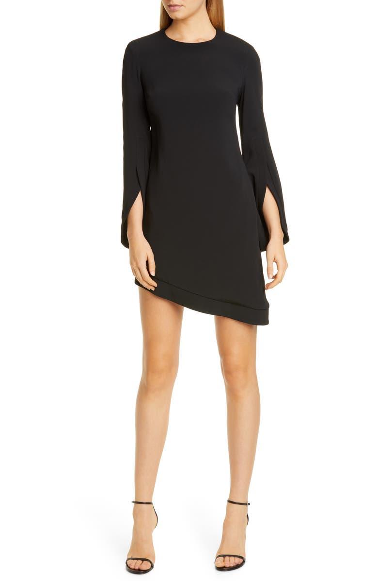 BRANDON MAXWELL Asymmetrical Split Long Sleeve Dress, Main, color, BLACK