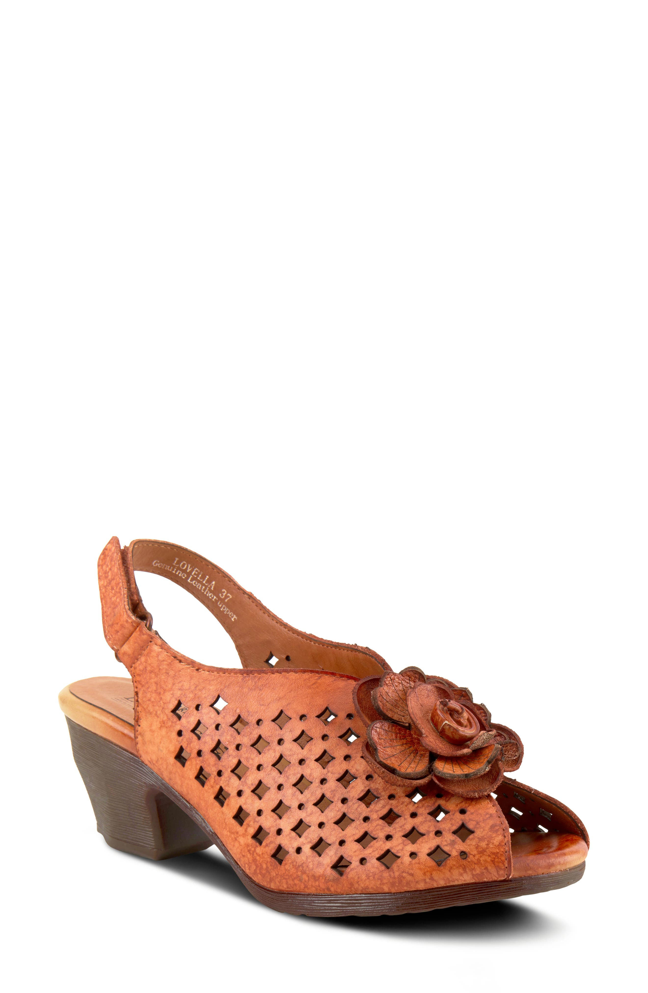 A lovely dimensional flower highlights the peep toe of a slingback sandal punctuated with laser-cut perforations and set on a tapered heel. Style Name:L\\\'Artiste Lovella Slingback Sandal (Women). Style Number: 5980133. Available in stores.