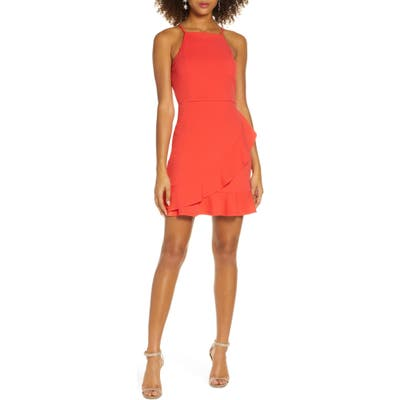 Lulus Great Thing Halter Neck Ruffle Minidress, Red