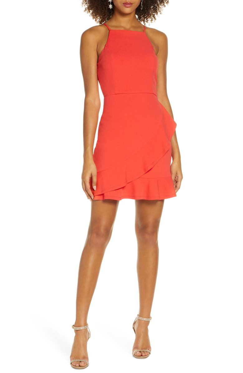 LULUS Great Thing Halter Neck Ruffle Minidress, Main, color, CORAL RED