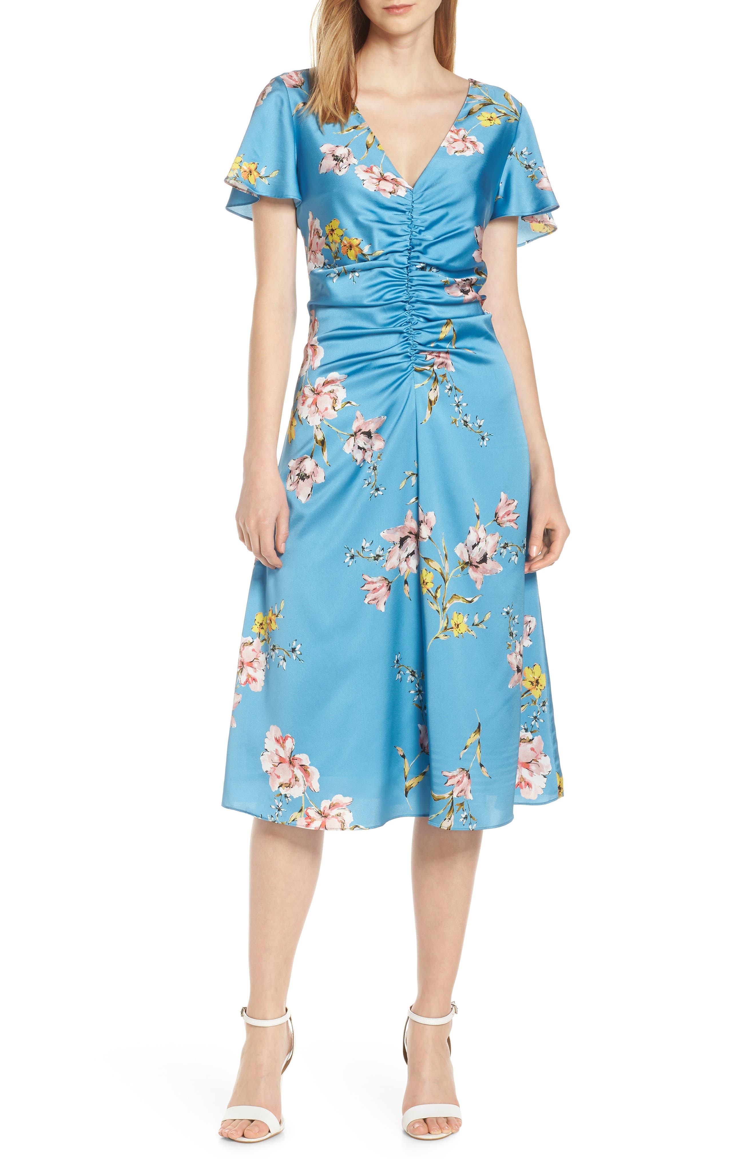 Avec Les Filles Painterly Boutique Ruched Satin Dress, Blue