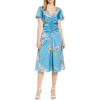 Avec Les Filles Painterly Boutique Ruched Satin Dress, Blue