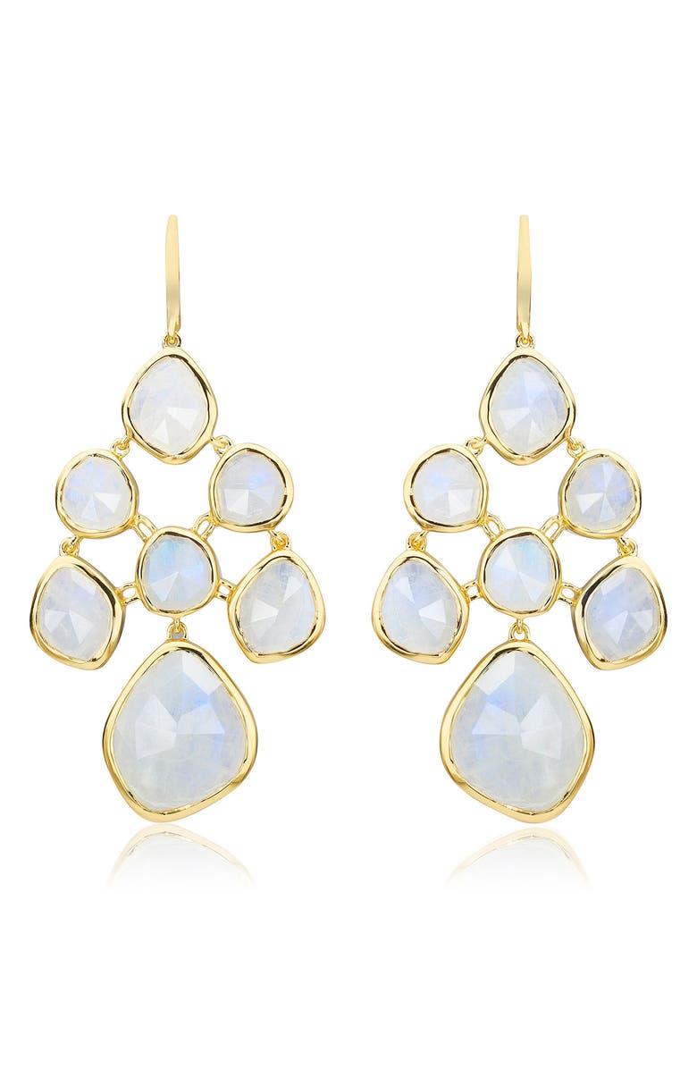 MONICA VINADER Siren Chandelier Earrings, Main, color, YELLOW GOLD/ MOONSTONE